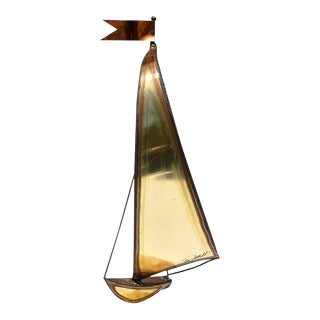 Tall Brass Copper and Onyx Sailboat Nautical or Maritime Sculpture - DeMott For Sale