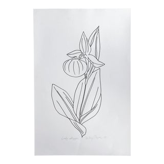 Original Vintage 1978 Black and White Botanical Ladys Slipper Drawing Unframed on Paper Signed Betsey Tryon For Sale