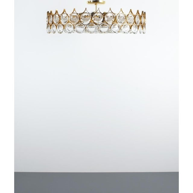 Palwa Xxl Refurbished Gold Plated Brass and Glass Semi Flush Mount Lamp For Sale - Image 6 of 13