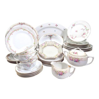 Vintage Mismatched Fine China Dinnerware - 30 Piece Set