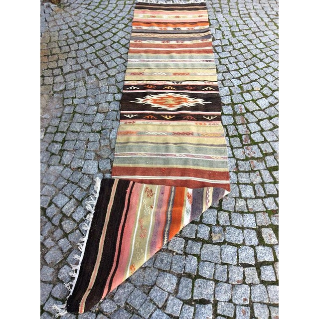 "Vintage Turkish Anatolian Kilim Rug - 1'8"" X 7'4"" For Sale - Image 5 of 6"
