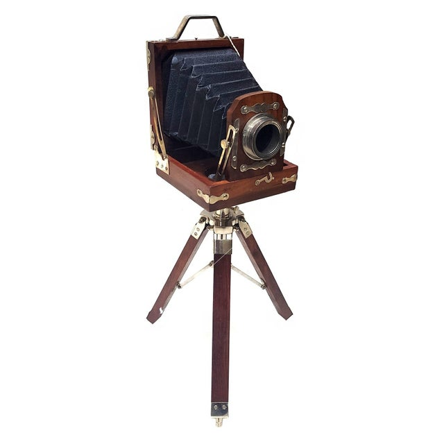 Metal Vintage Nickel Plated Brass Camera with Tripod Stand Replica For Sale - Image 7 of 7