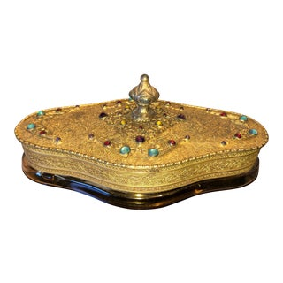 1920s Apollo Studios Antique Gold Plated Filigree Boudoir Vanity Tray For Sale