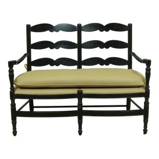 Baker Milling Road Black Decorated Country Primitive Settee For Sale