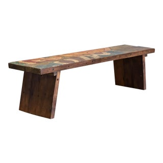 Painted Boat Wood Slab Bench For Sale