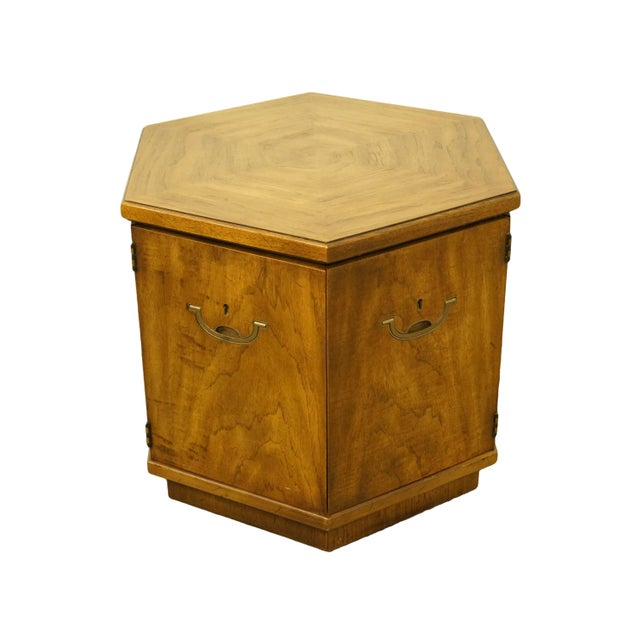 20th Century Campaign Drexel Heritage Accolade II Collection Hexagonal Storage Cabinet For Sale - Image 11 of 11