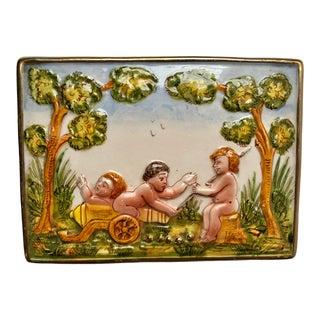 Vintage Italian Pottery Putti Trinket Box For Sale