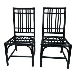 Pair Vintage Rattan Chairs For Sale