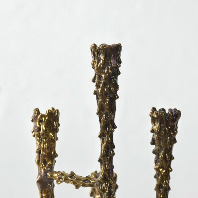 Paul Evans Midcentury Modern Brutalist Tiered Brass Candle Holder For Sale - Image 4 of 11