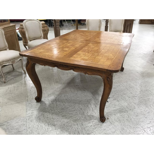 Brown French Parquetry Top Dining TBle For Sale - Image 8 of 9