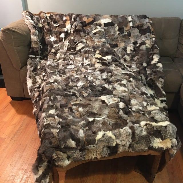 "Vintage Rustic Rabbit Fur Throw - 5'10"" x 7'6"" - Image 3 of 5"