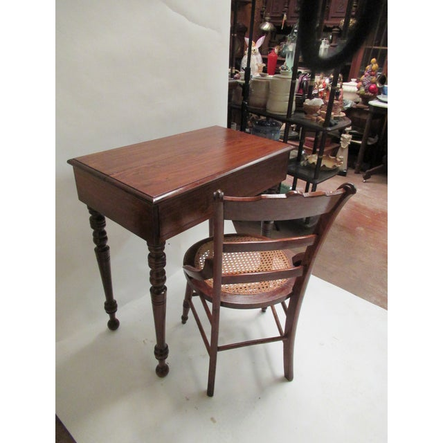 Walnut 1930s Children's Spinet Flip Top Walnut Writing Desk with Caned Chair For Sale - Image 7 of 13