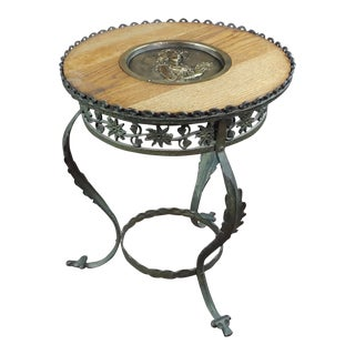 1900s Art Nouveau Round Bronze End Table For Sale