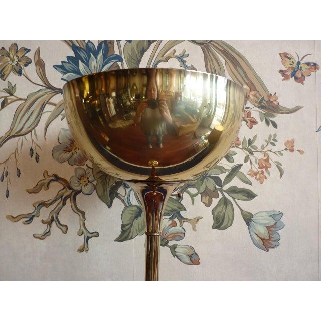 Brass Torchiere Floor Lamp - Image 3 of 6