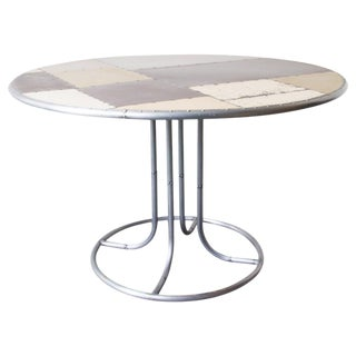 Scrap Metal Pedestal Dining Table For Sale