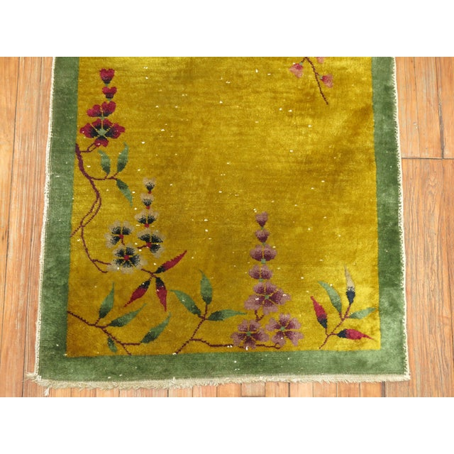 1940s Yellow Chinese Art Deco Rug, 2'11'' X 4'9'' For Sale - Image 5 of 6