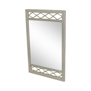 Ficks Reed Vintage White Painted Rattan Mirror For Sale