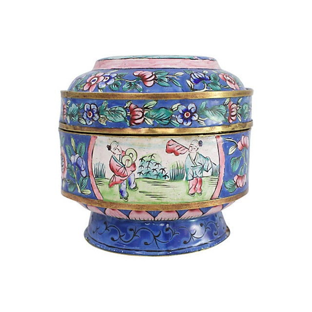 19th-century Chinese brass box with stunning hand-painted enamel motif. Features low pedestal base and turquoise enamel...