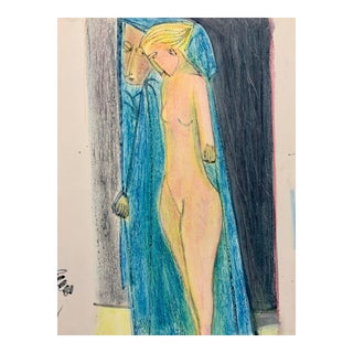 """Donald Stacy """"Mirror in the Bathroom"""" C.1950s Oil Pastel Mid Century Drawing For Sale"""