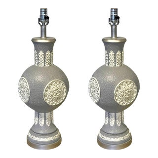 Mid Century Steel Grey Lacquered Orb Lamps - a Pair