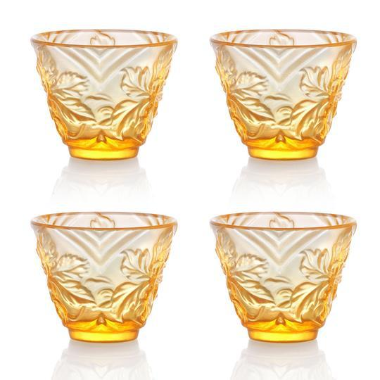 """Contemporary """"To Drink Amongst Flowers"""" Crystal Sake Glasses in Light Amber - Set of 4 For Sale - Image 3 of 11"""