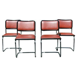 Mid Century Modern Marcel Breuer Set 4 Cantilever Chrome Side Chairs Italy For Sale