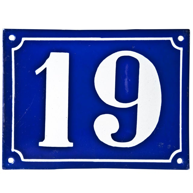"Vintage French ""19"" Enamel House Number - Image 1 of 2"