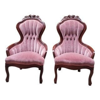 1950s Vintage Victorian Pink Velvet Slipper Chairs - A Pair For Sale