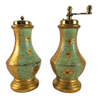 Vintage Italian Florentine Salt and Pepper Grinders - a Pair For Sale