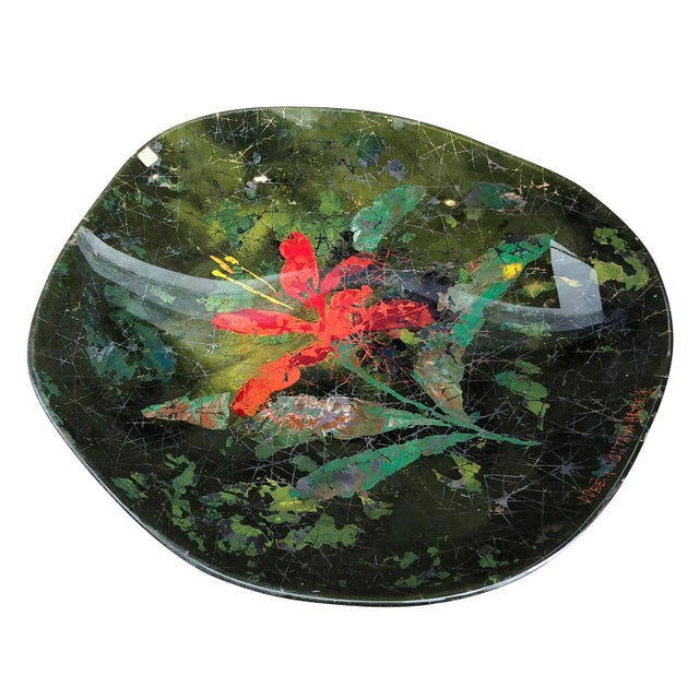 Fontana Arte center piece made by Italian artist Dube' in the 1950's representing a red lily with gold accents. He created...