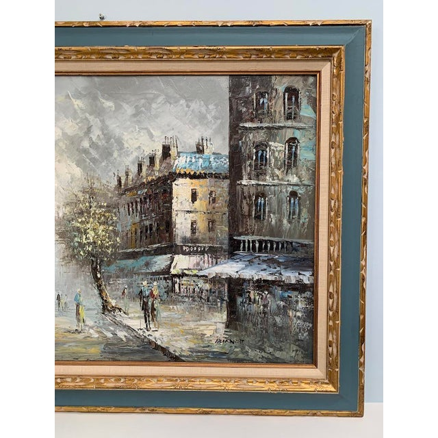 Early 20th Century Antique Caroline Burnett Paris Street Scene Palette  Knife Oil Painting