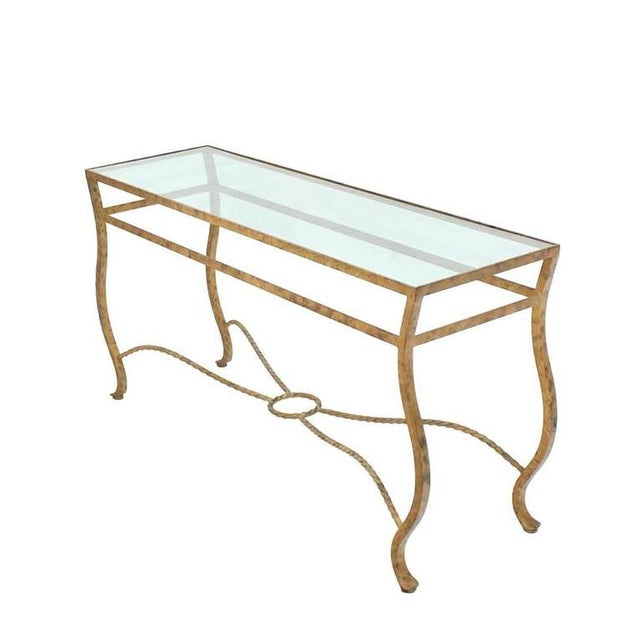Pair of nice gold finish console tables.