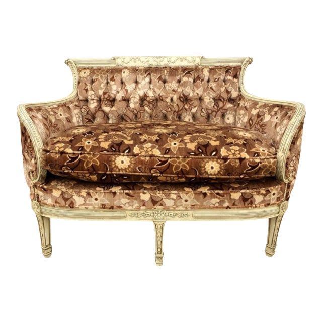 French Style Floral Upholstered Loveseat Chairish