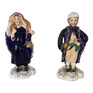 Circa 1850's Antique English Staffordshire Arabic Figures - A Pair