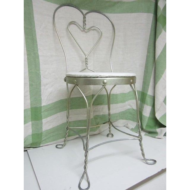 Vintage Metal Ice Cream Parlor Chair with Heart - Image 7 of 10
