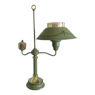 Underwriters Laboratories Green & Brass Metal With Tole Painted Metal Shade Portable Lamp For Sale