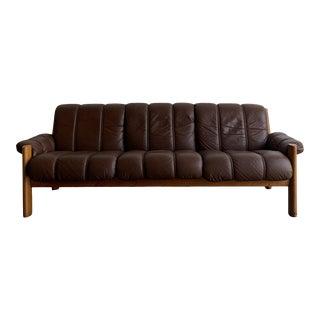 Mid-Century Danish Modern Ekornes Teak and Leather Three-Seater Sofa For Sale