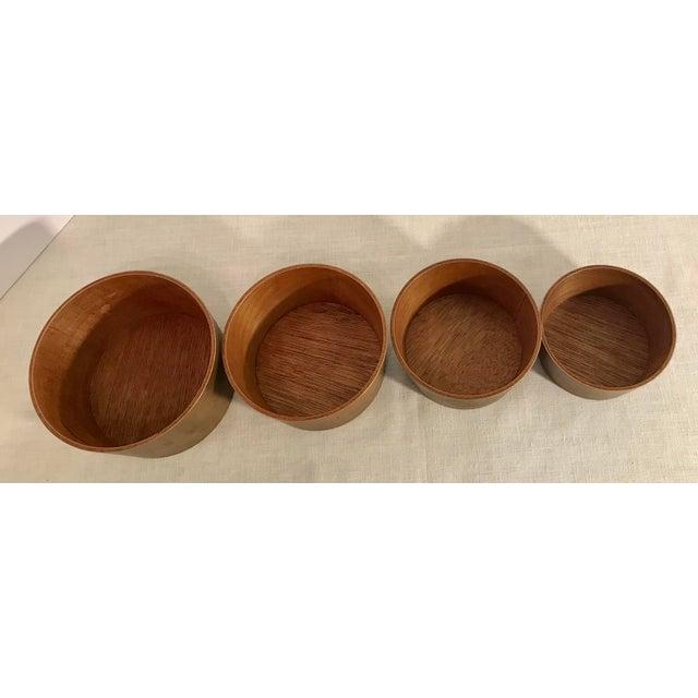 Vintage Wooden Nesting Snack Bowls - Set of 4 - Image 3 of 10