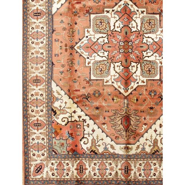 Persian Tabriz handmade Lamb's Wool rug on a cotton foundation with a medallion square motif. HERIZ Design. Hand-Spun Wool...