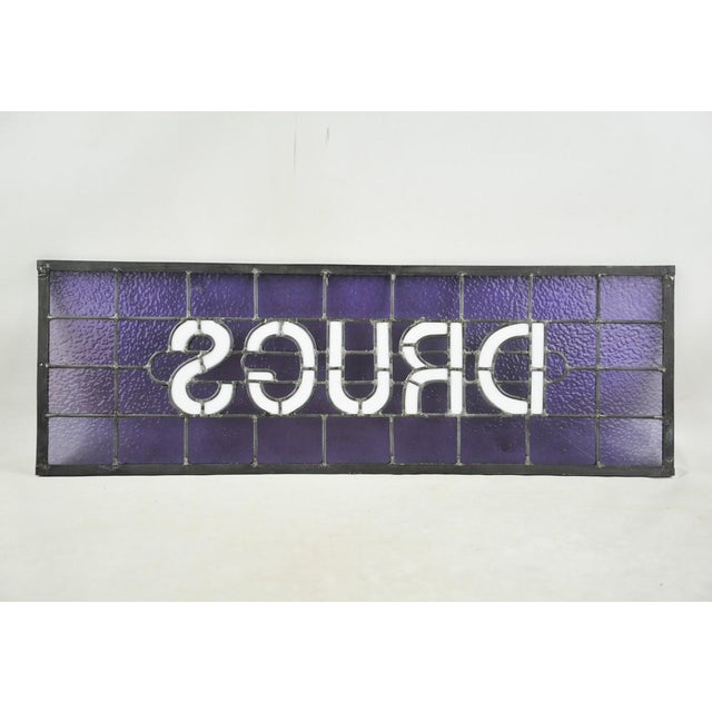 "Industrial Original Stained Glass Sign ""Drugs"" by James Moore For Sale - Image 3 of 8"