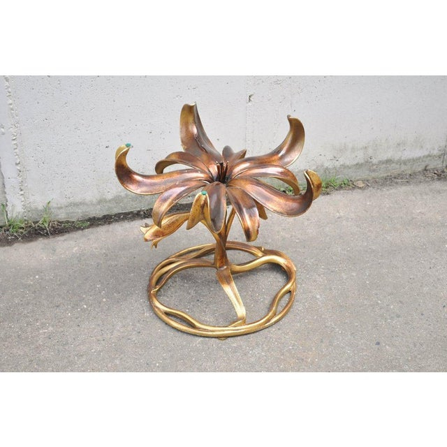 Vintage Arthur Court Mid-Century Hollywood Regency Gold Lily Side Table - Image 9 of 10