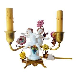 Antique 1920's French Ormolu Gilt Tole Boudoir Cherub Lamp Porcelain Flowers