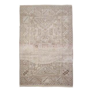 Vintage Turkish Wool Rug With Faded Colors For Sale
