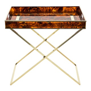 French Maison Mercier Faux Tortoise Brass Tray Table For Sale