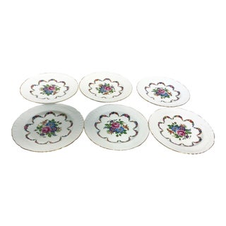 English Bone China Floral Salad Plates - Set of 6 For Sale