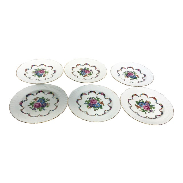 English Bone China Floral Salad Plates - Set of 6 For Sale