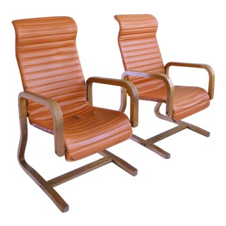 Mid-Century Modern Thonet Bentwood Cantilever Lounge Chairs - a Pair
