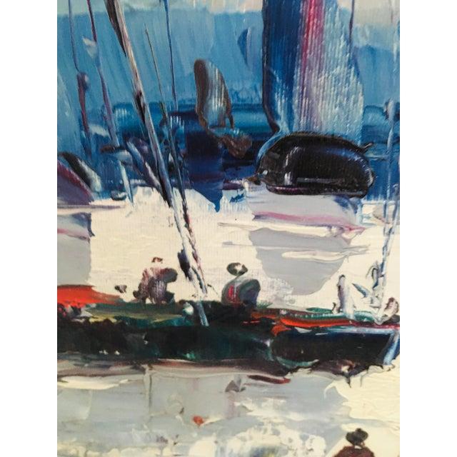 Figurative Mid Century Impressionist Oil on Canvas Harbor Scene For Sale - Image 3 of 12