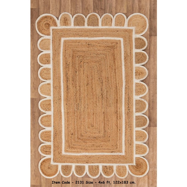 White Trim Jute Scallop Braided Handmade Rug For Sale - Image 10 of 10