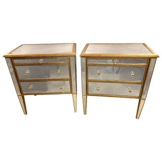 Mid 20th Century Large Custom Three Drawer Antique Mirrored Nightstands - a Pair For Sale